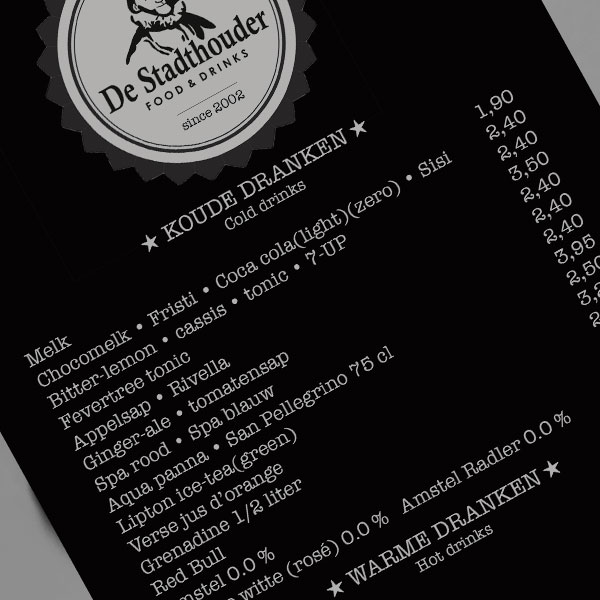 stadthouder-menu